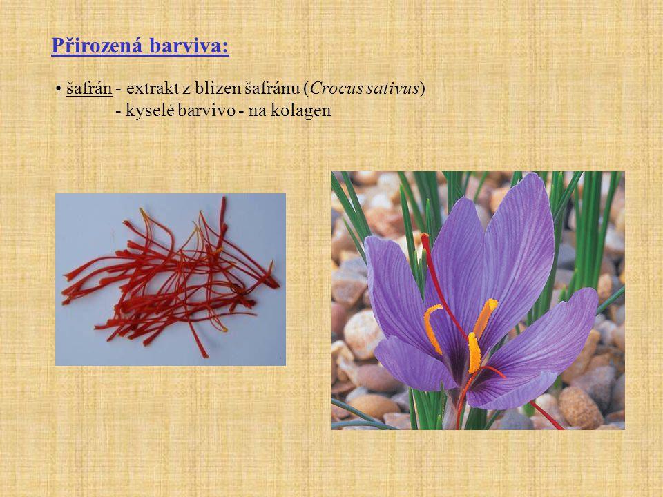 Přirozená barviva: šafrán - extrakt z blizen šafránu (Crocus sativus)