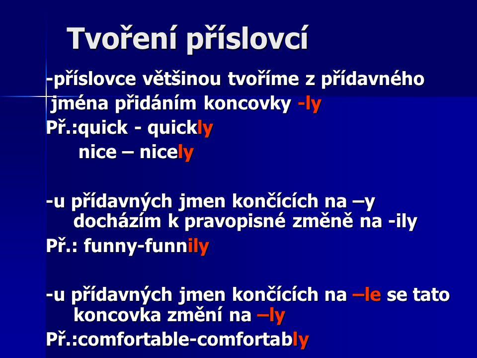 Tvoření příslovcí -příslovce většinou tvoříme z přídavného