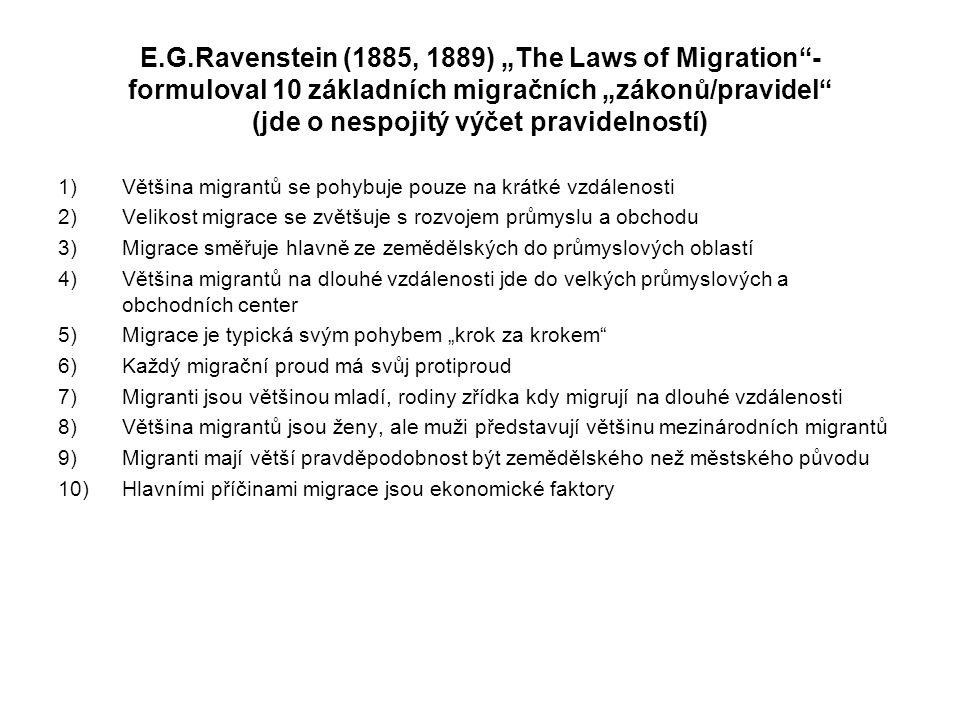 """E.G.Ravenstein (1885, 1889) """"The Laws of Migration - formuloval 10 základních migračních """"zákonů/pravidel (jde o nespojitý výčet pravidelností)"""