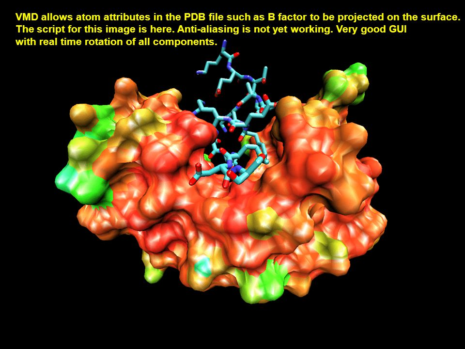 VMD allows atom attributes in the PDB file such as B factor to be projected on the surface.