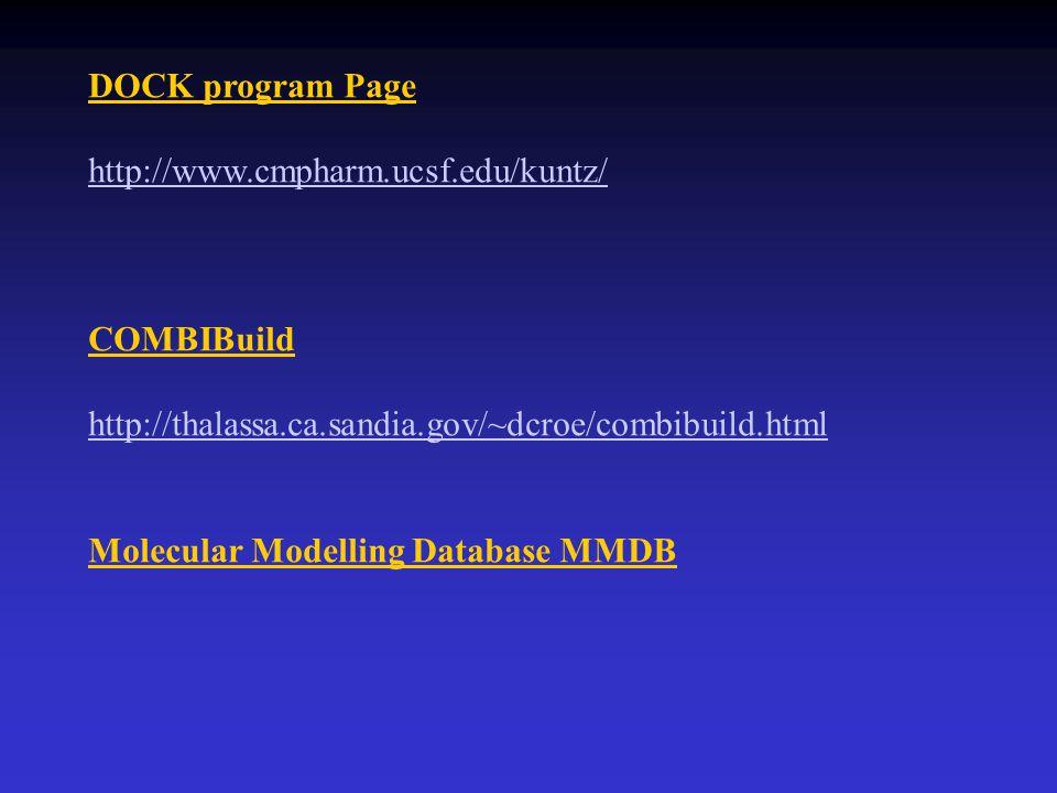 DOCK program Page http://www.cmpharm.ucsf.edu/kuntz/ COMBIBuild. http://thalassa.ca.sandia.gov/~dcroe/combibuild.html.