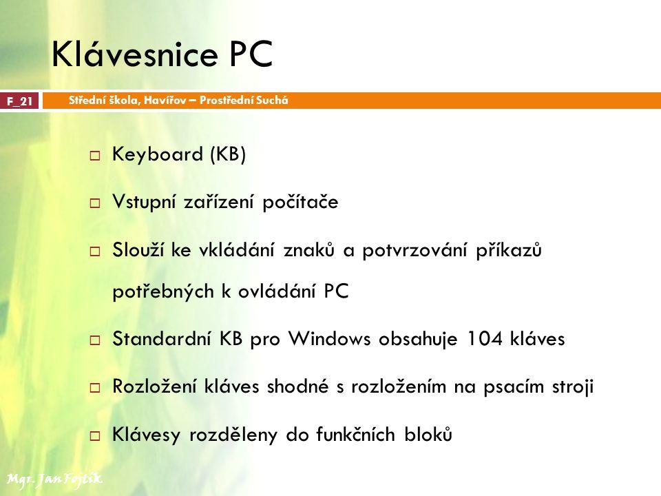 Klávesnice PC Keyboard (KB) Vstupní zařízení počítače