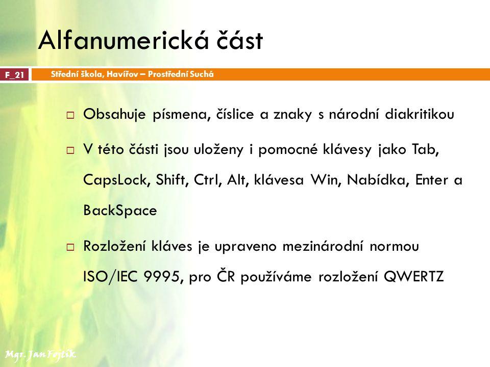 Alfanumerická část Střední škola, Havířov – Prostřední Suchá. F_21. Obsahuje písmena, číslice a znaky s národní diakritikou.