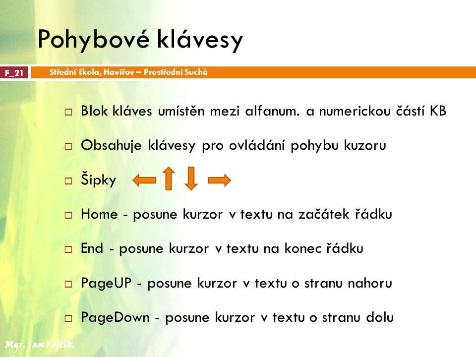 Pohybové klávesy Střední škola, Havířov – Prostřední Suchá. F_21. Blok kláves umístěn mezi alfanum. a numerickou částí KB.