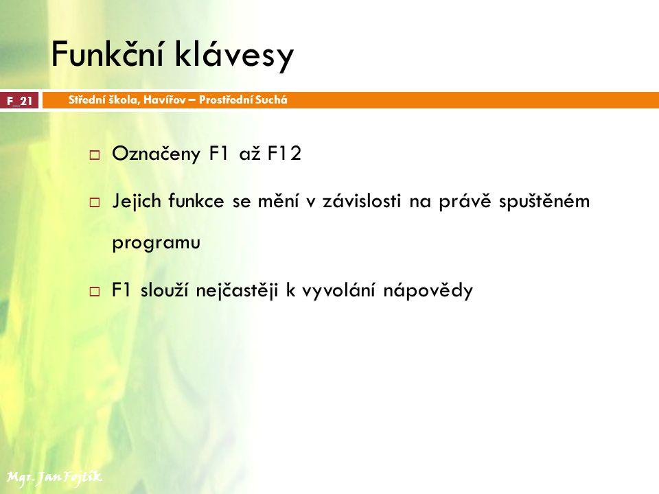 Funkční klávesy Označeny F1 až F12