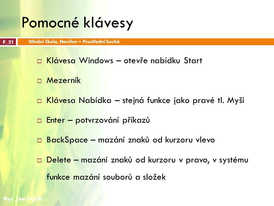 Pomocné klávesy Klávesa Windows – otevře nabídku Start Mezerník