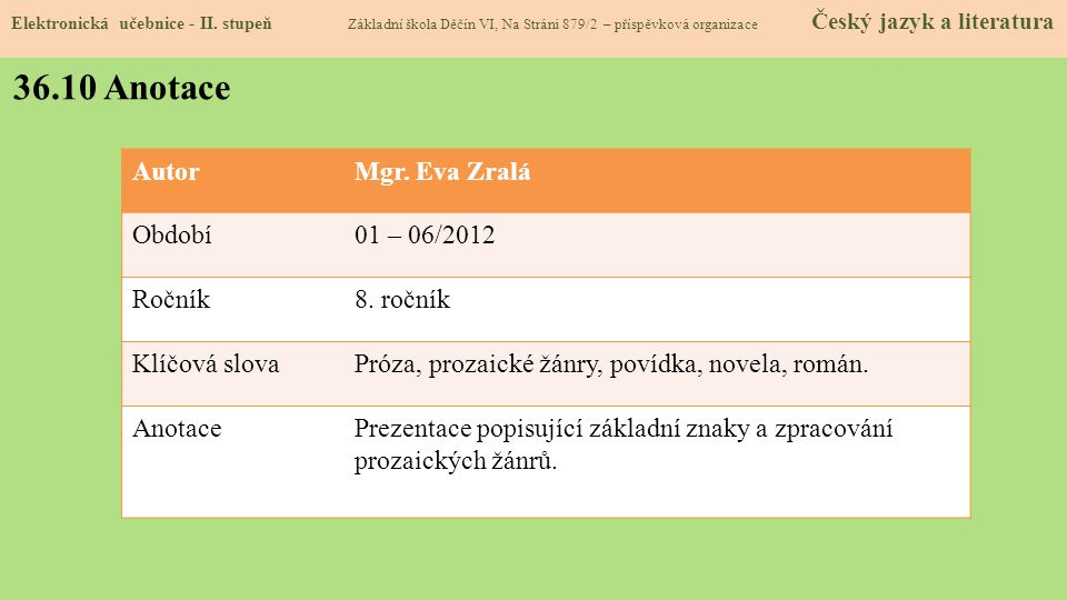 36.10 Anotace Autor Mgr. Eva Zralá Období 01 – 06/2012 Ročník