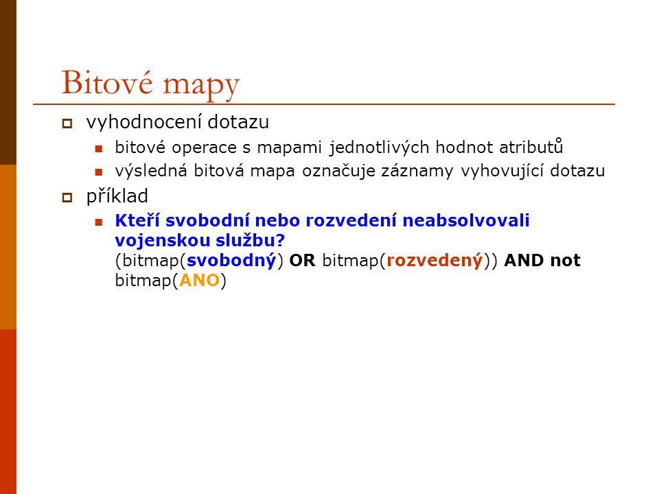 Bitové mapy vyhodnocení dotazu příklad