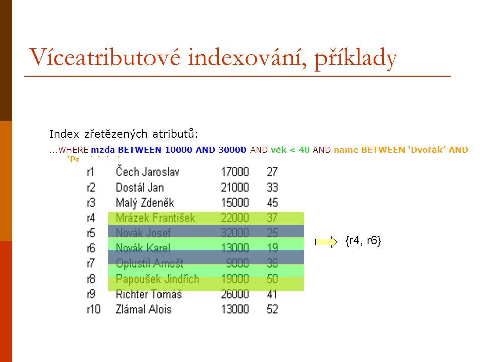 Víceatributové indexování, příklady