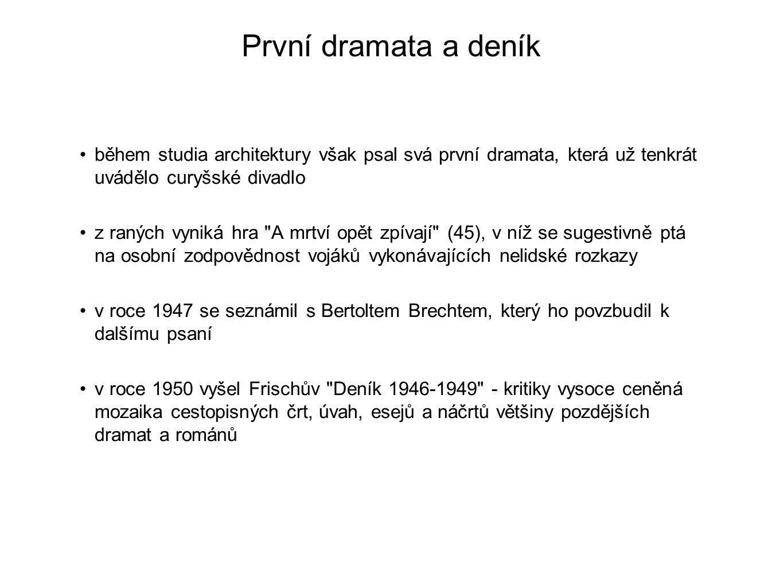 První dramata a deník během studia architektury však psal svá první dramata, která už tenkrát uvádělo curyšské divadlo.