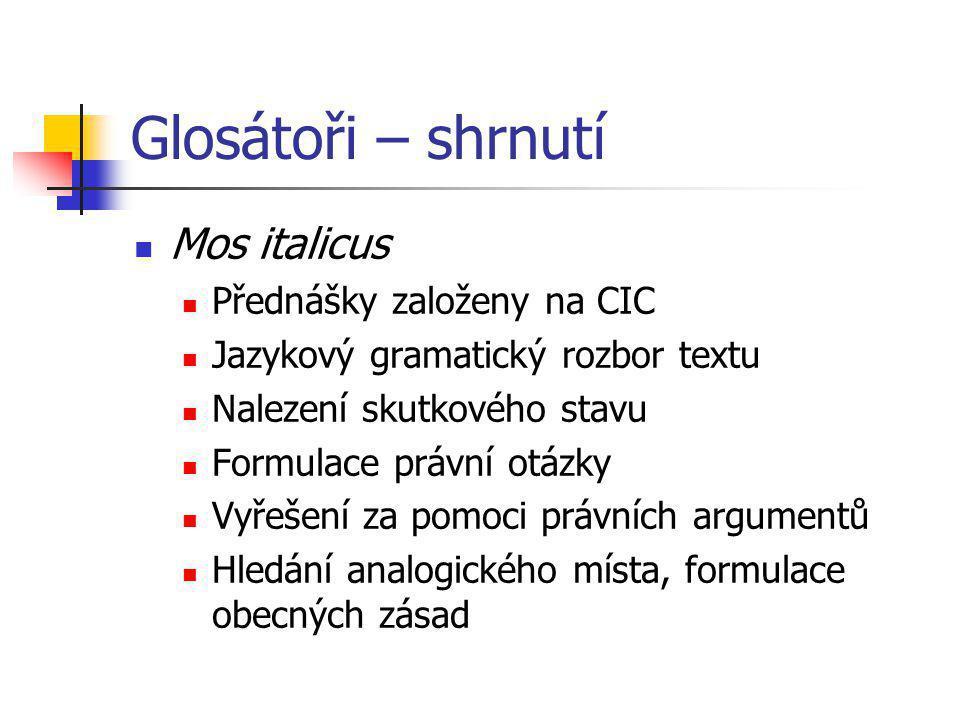 Glosátoři – shrnutí Mos italicus Přednášky založeny na CIC