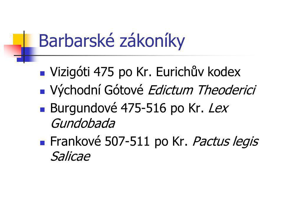 Barbarské zákoníky Vizigóti 475 po Kr. Eurichův kodex