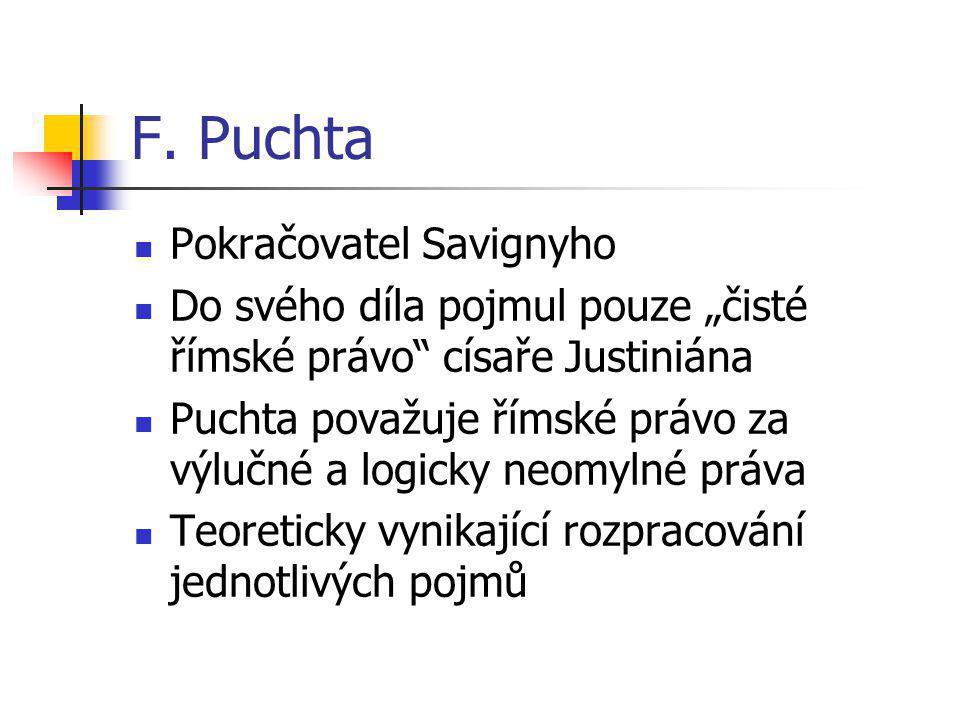 F. Puchta Pokračovatel Savignyho