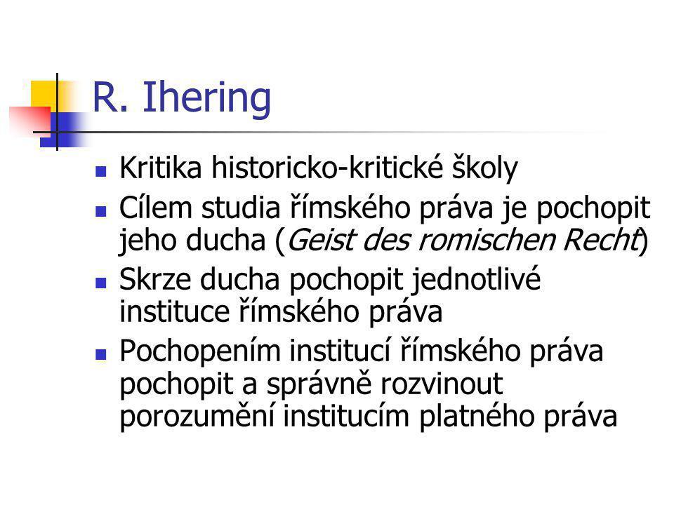 R. Ihering Kritika historicko-kritické školy