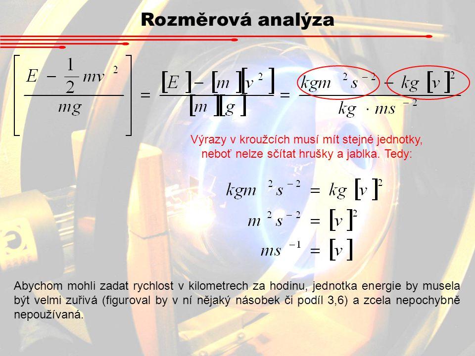 Rozměrová analýza Výrazy v kroužcích musí mít stejné jednotky, neboť nelze sčítat hrušky a jablka. Tedy: