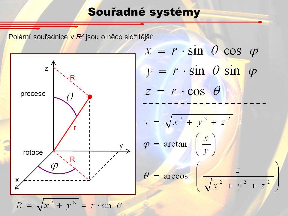 Souřadné systémy Polární souřadnice v R3 jsou o něco složitější: z R
