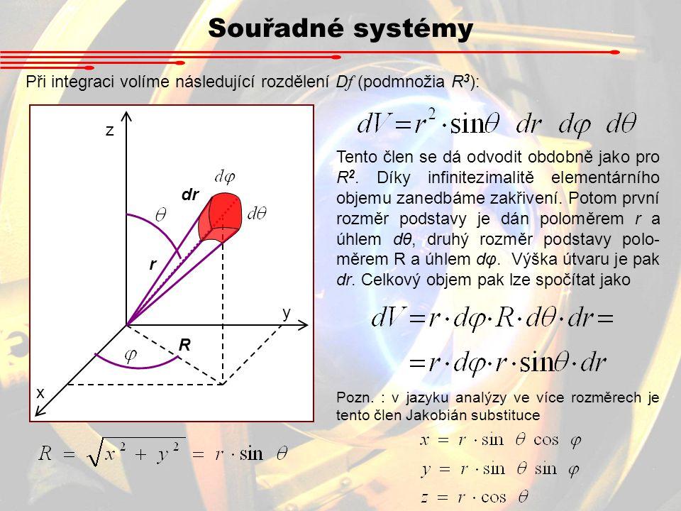Souřadné systémy Při integraci volíme následující rozdělení Df (podmnožia R3): x. y. z. dr. r.