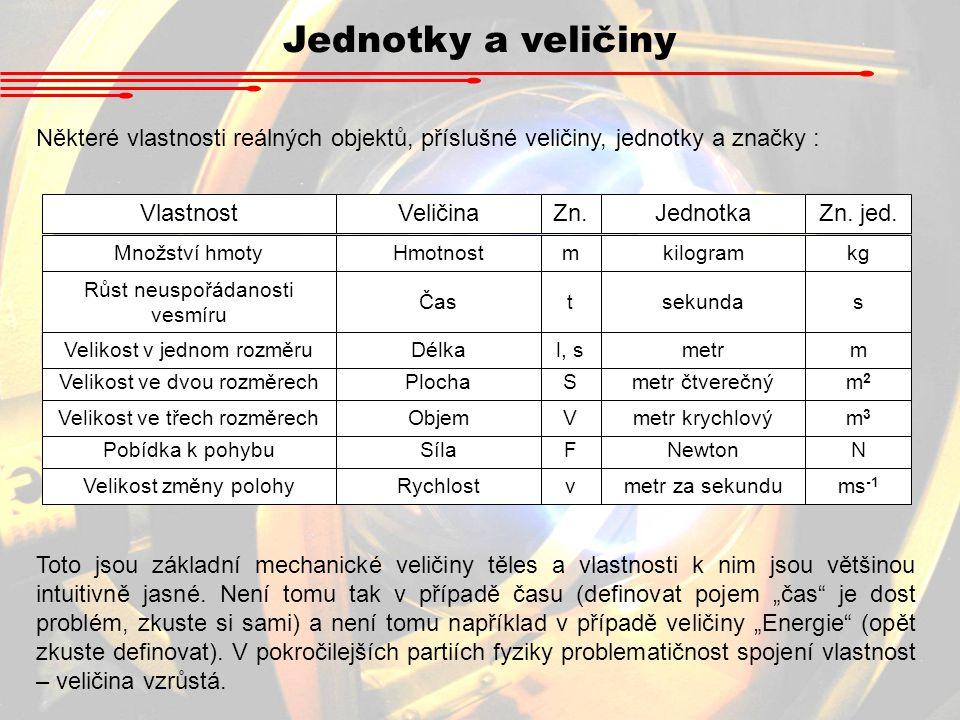 Jednotky a veličiny Některé vlastnosti reálných objektů, příslušné veličiny, jednotky a značky : Vlastnost.