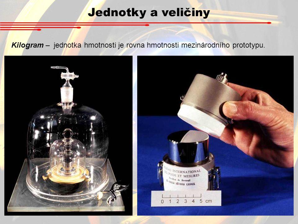 Jednotky a veličiny Kilogram – jednotka hmotnosti je rovna hmotnosti mezinárodního prototypu.