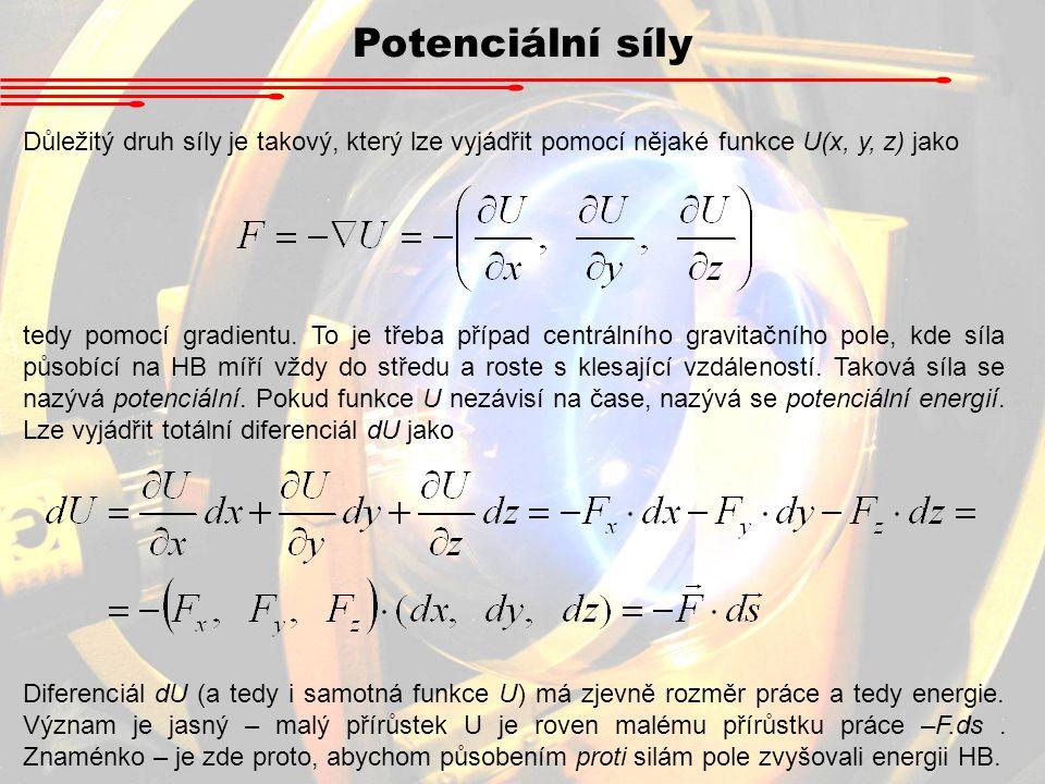 Potenciální síly Důležitý druh síly je takový, který lze vyjádřit pomocí nějaké funkce U(x, y, z) jako.