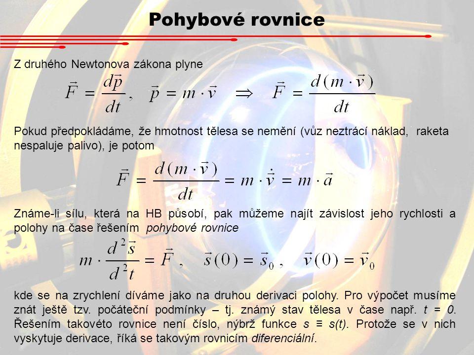 Pohybové rovnice Z druhého Newtonova zákona plyne