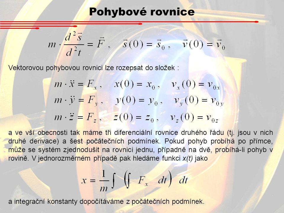 Pohybové rovnice Vektorovou pohybovou rovnici lze rozepsat do složek :