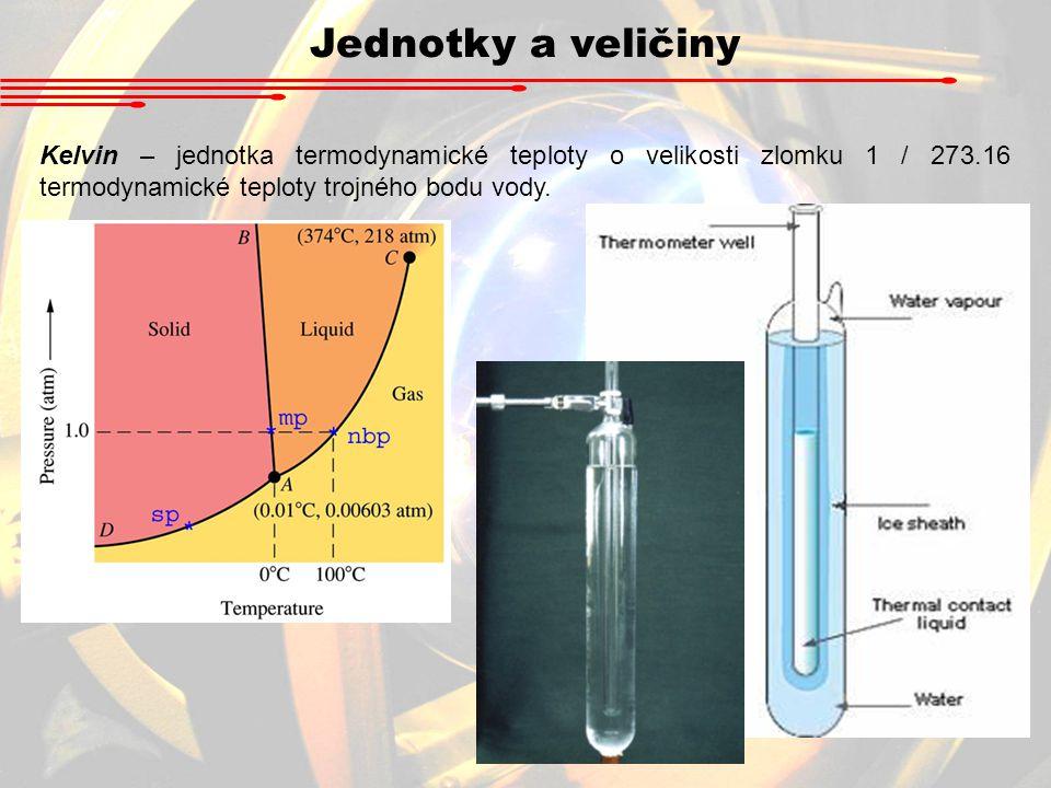 Jednotky a veličiny Kelvin – jednotka termodynamické teploty o velikosti zlomku 1 / 273.16 termodynamické teploty trojného bodu vody.