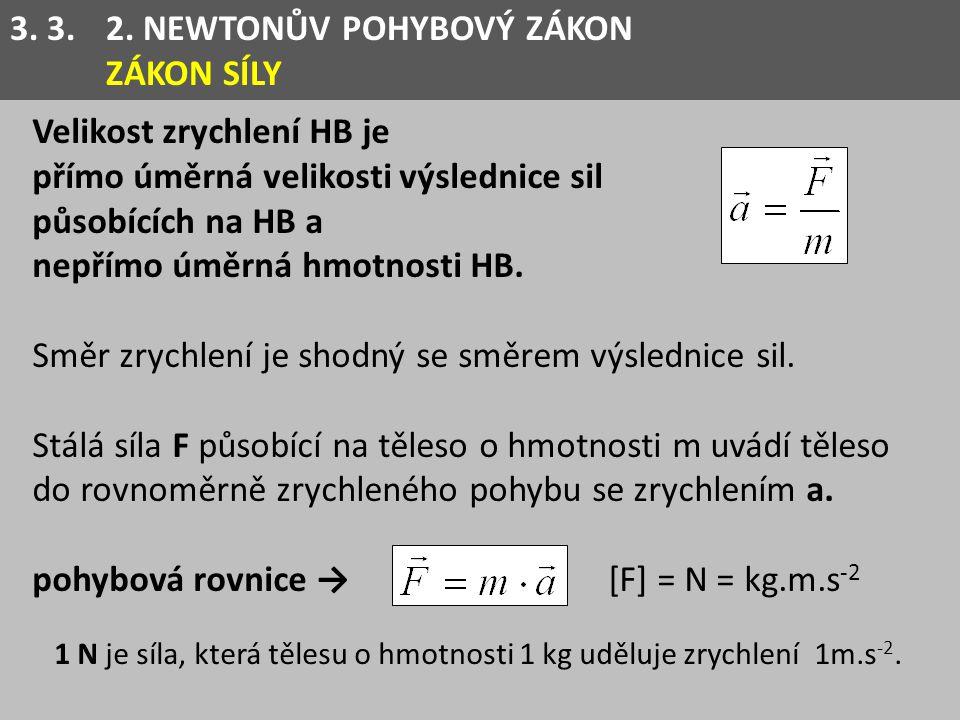 1 N je síla, která tělesu o hmotnosti 1 kg uděluje zrychlení 1m.s-2.