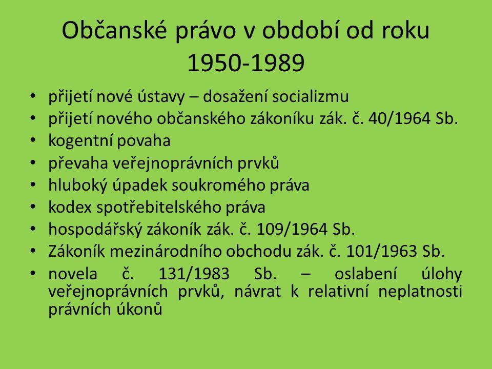 Občanské právo v období od roku 1950-1989