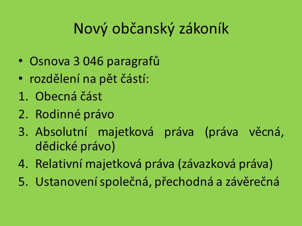 Nový občanský zákoník Osnova 3 046 paragrafů rozdělení na pět částí: