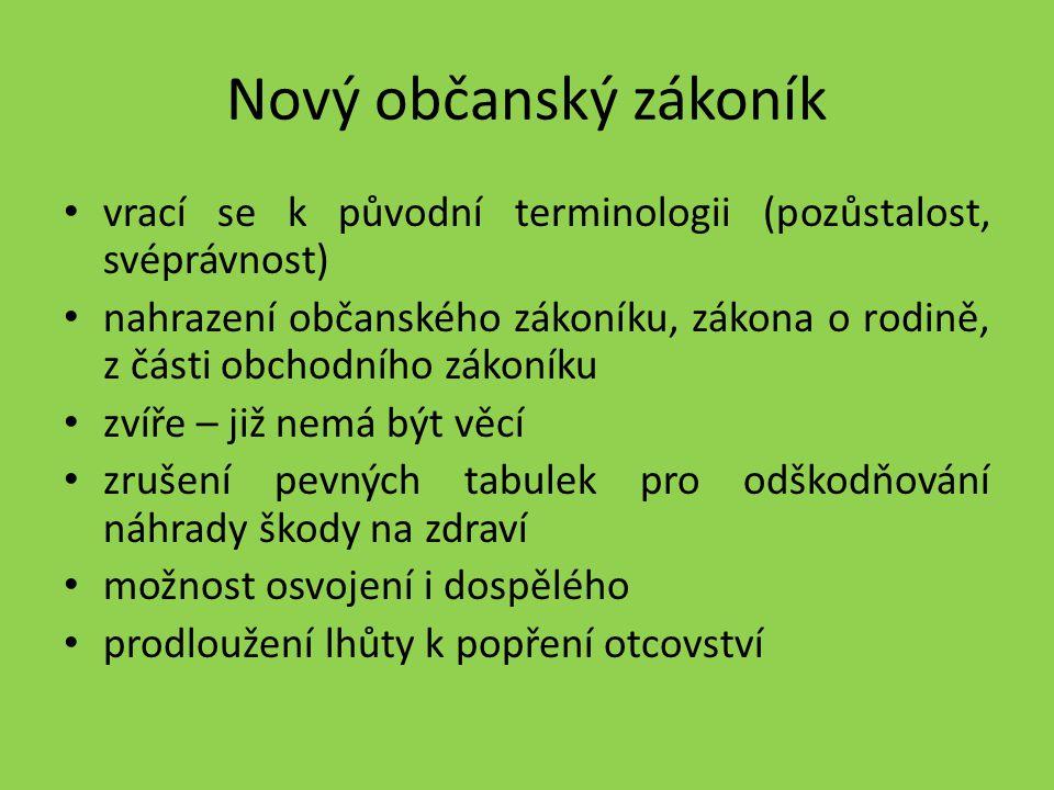 Nový občanský zákoník vrací se k původní terminologii (pozůstalost, svéprávnost)