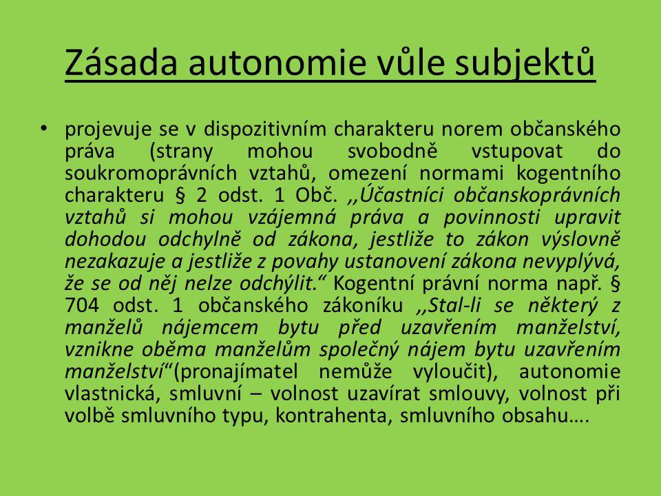 Zásada autonomie vůle subjektů