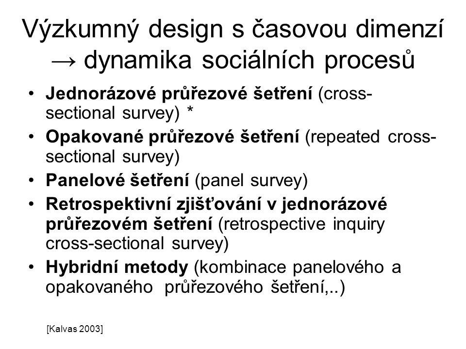 Výzkumný design s časovou dimenzí → dynamika sociálních procesů