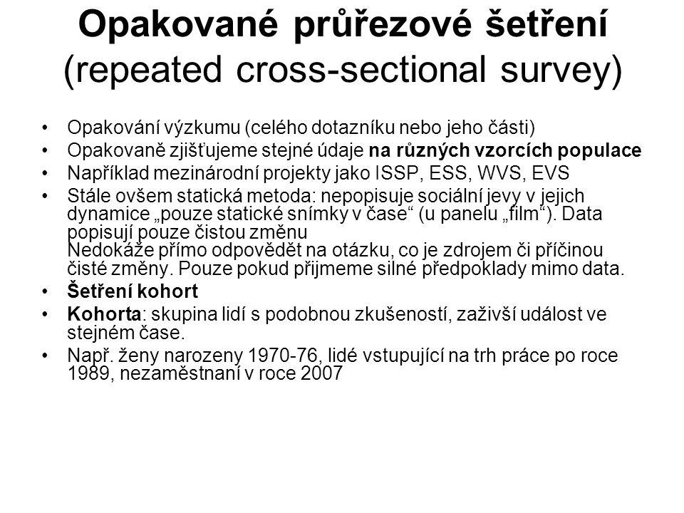 Opakované průřezové šetření (repeated cross-sectional survey)
