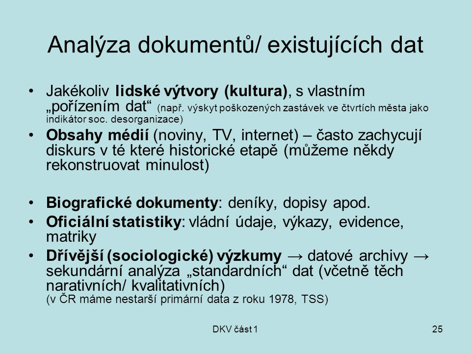 Analýza dokumentů/ existujících dat