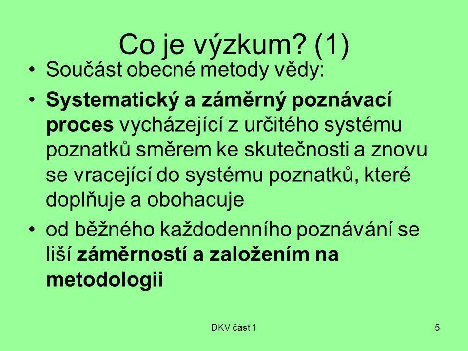 Co je výzkum (1) Součást obecné metody vědy: