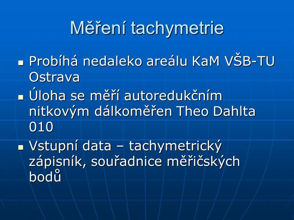 Měření tachymetrie Probíhá nedaleko areálu KaM VŠB-TU Ostrava