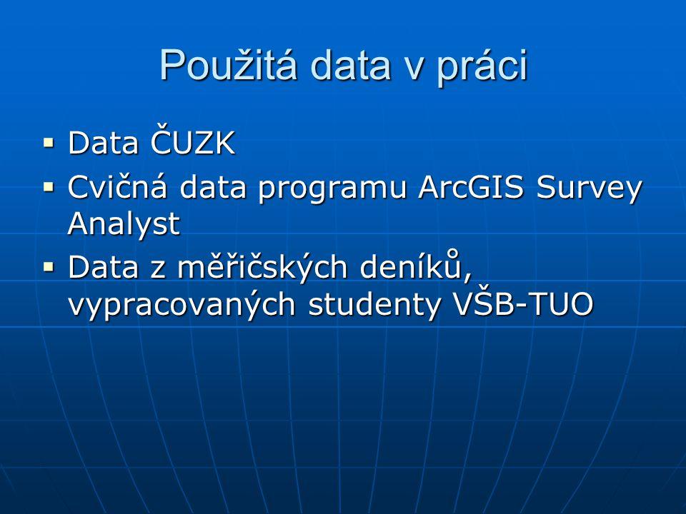 Použitá data v práci Data ČUZK