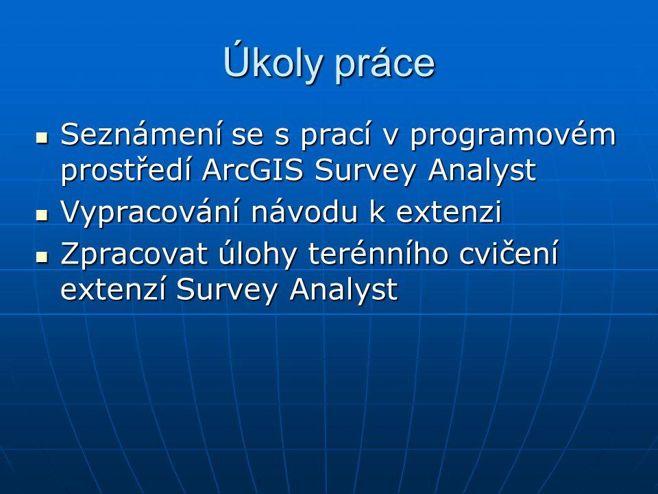 Úkoly práce Seznámení se s prací v programovém prostředí ArcGIS Survey Analyst. Vypracování návodu k extenzi.