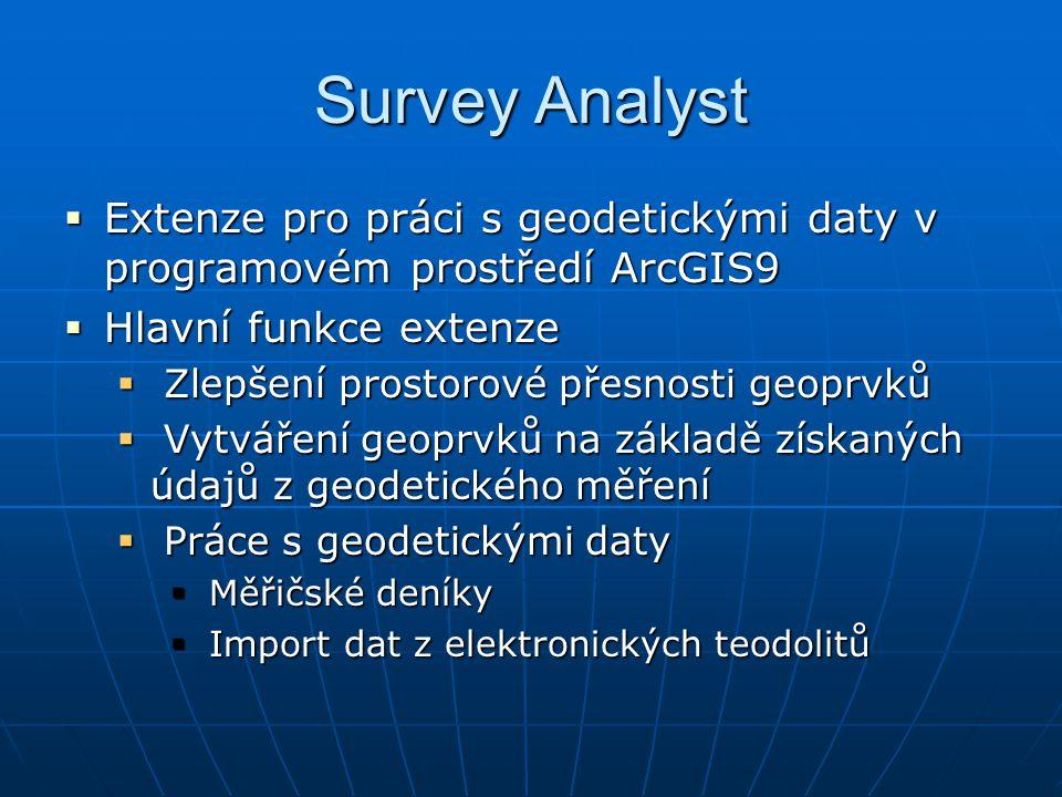 Survey Analyst Extenze pro práci s geodetickými daty v programovém prostředí ArcGIS9. Hlavní funkce extenze.