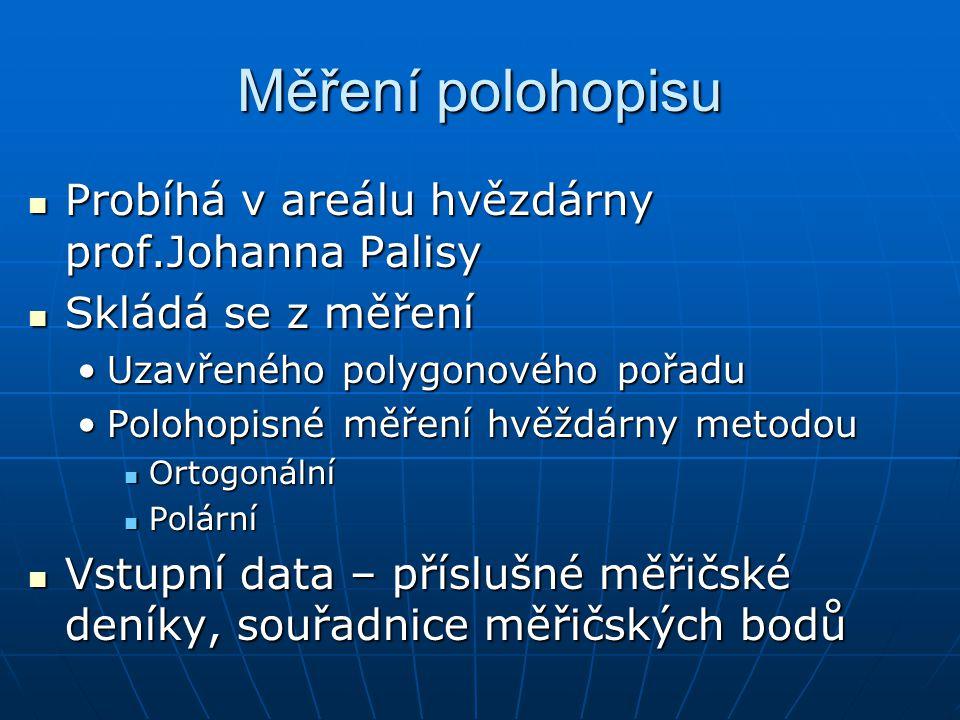 Měření polohopisu Probíhá v areálu hvězdárny prof.Johanna Palisy