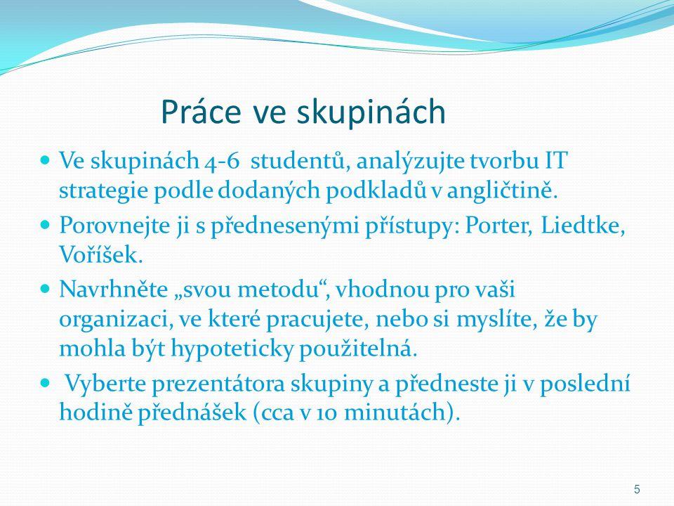 Práce ve skupinách Ve skupinách 4-6 studentů, analýzujte tvorbu IT strategie podle dodaných podkladů v angličtině.