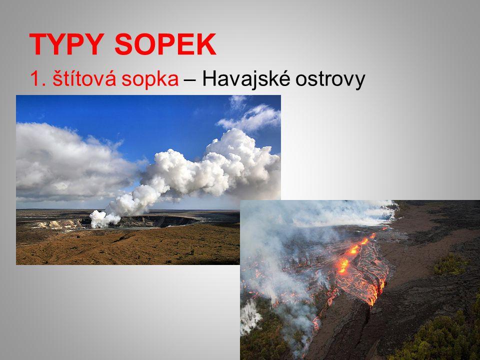 TYPY SOPEK 1. štítová sopka – Havajské ostrovy
