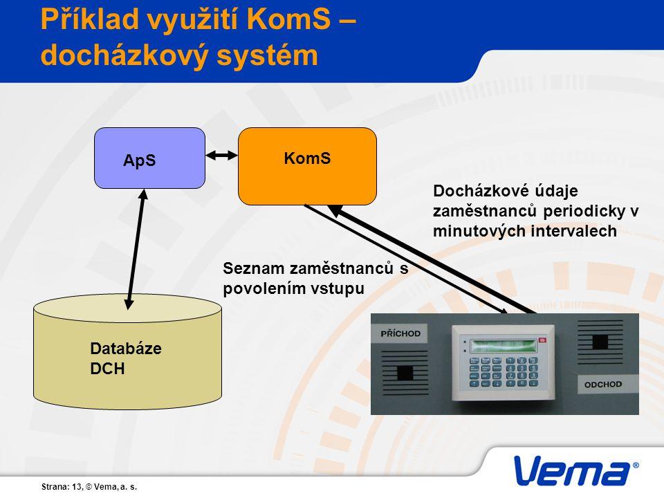 Příklad využití KomS – docházkový systém