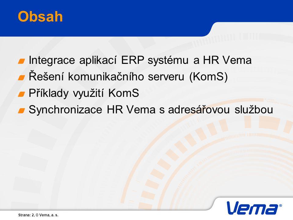 Obsah Integrace aplikací ERP systému a HR Vema