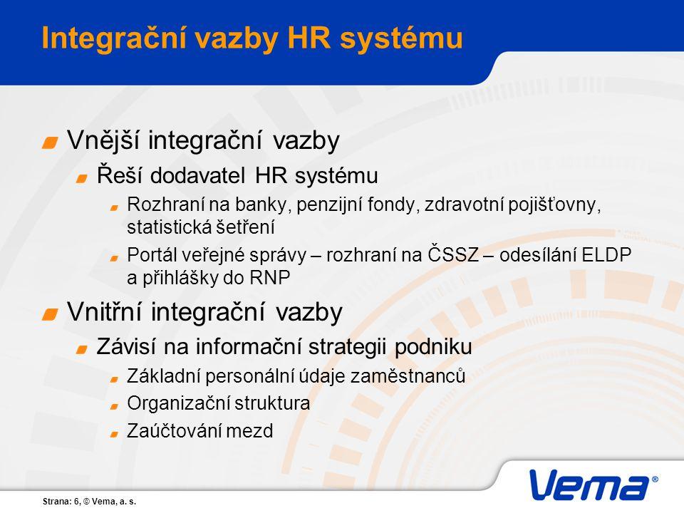 Integrační vazby HR systému