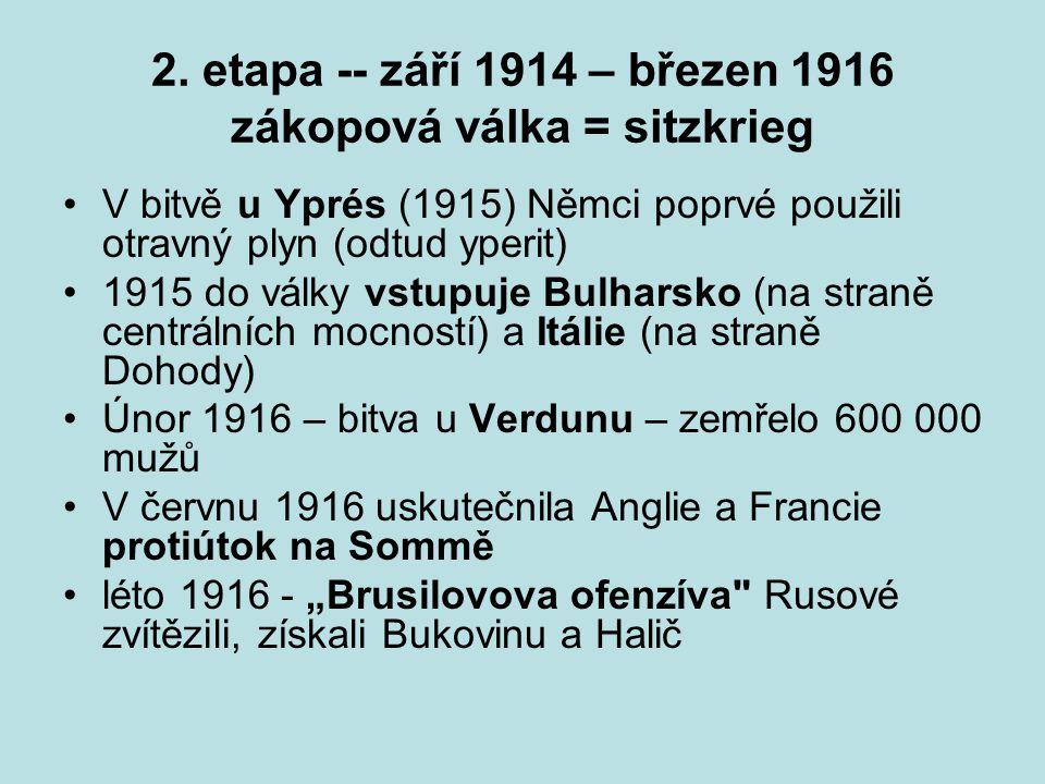 2. etapa -- září 1914 – březen 1916 zákopová válka = sitzkrieg