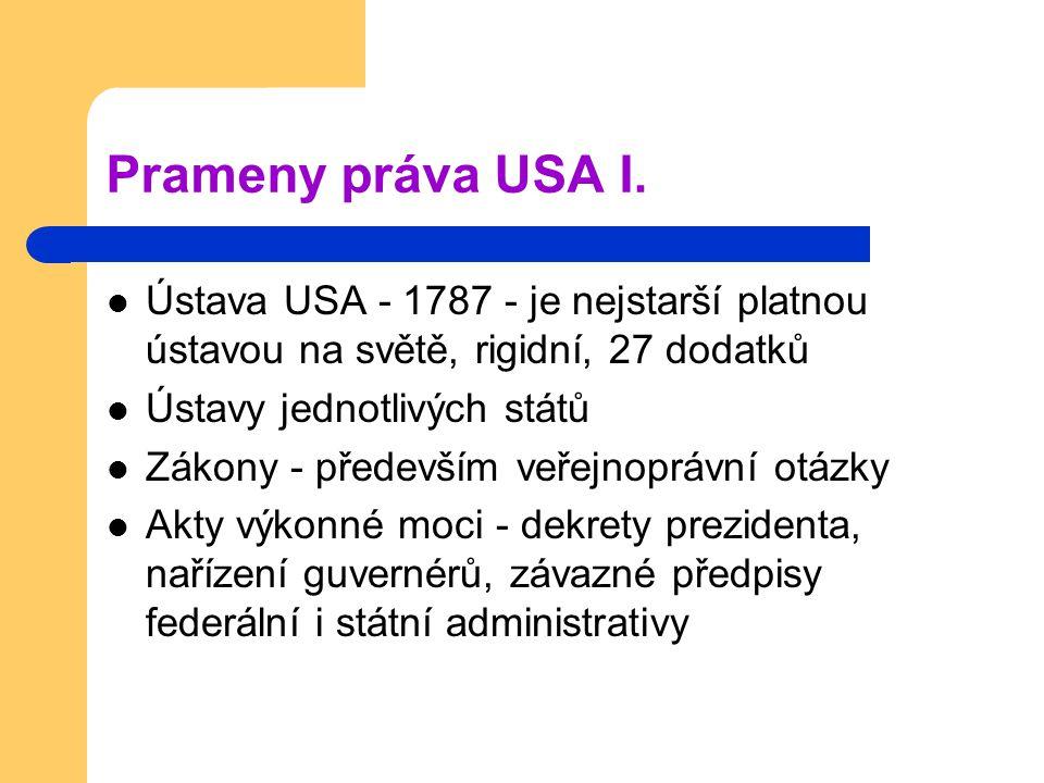 Prameny práva USA I. Ústava USA - 1787 - je nejstarší platnou ústavou na světě, rigidní, 27 dodatků.