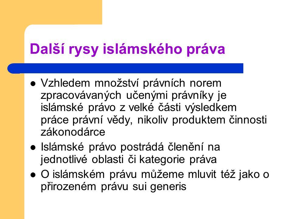 Další rysy islámského práva