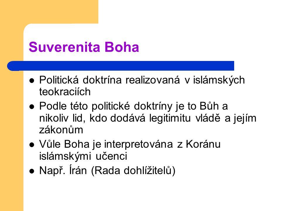 Suverenita Boha Politická doktrína realizovaná v islámských teokraciích.